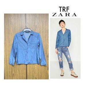 NWT Zara Chambray Denim Pajama Button Down Shirt